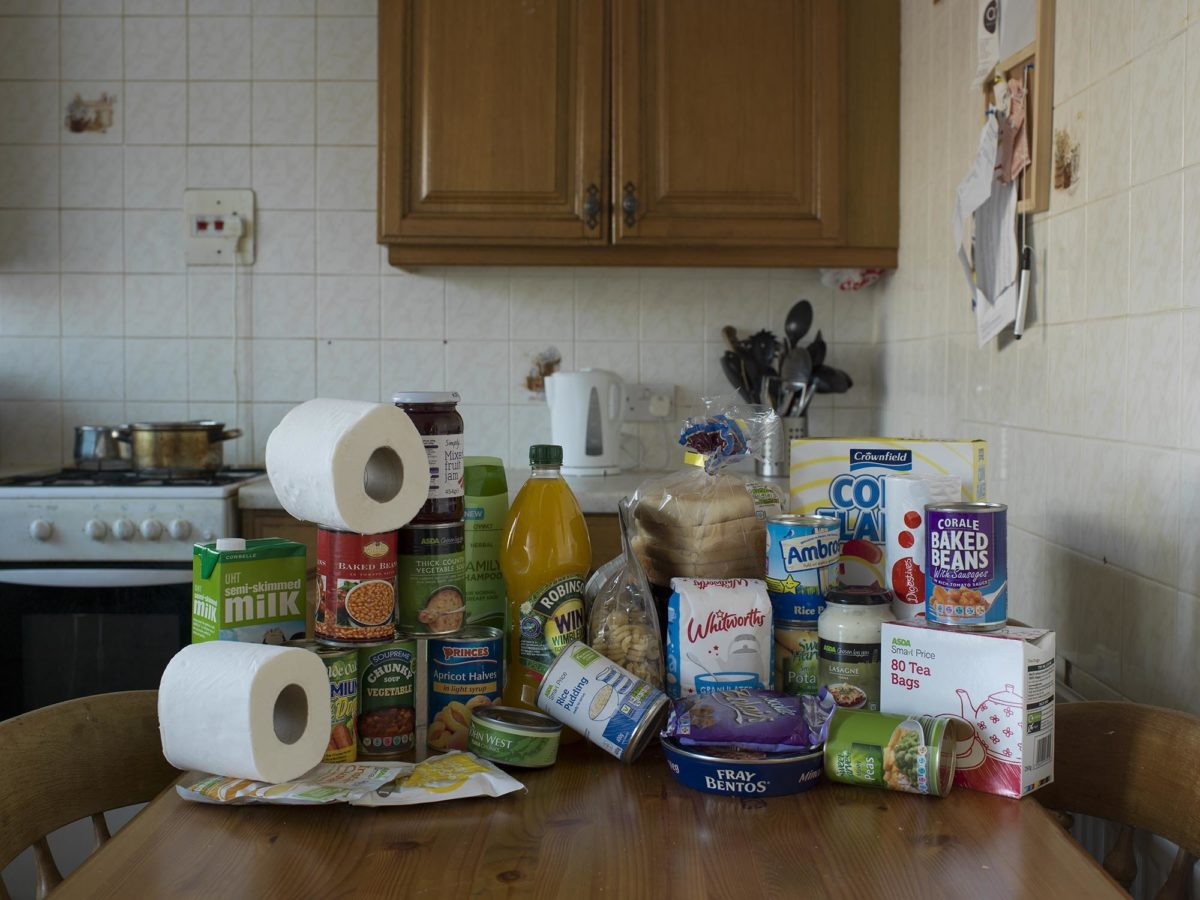 Single Adult Pack from Wansbeck Valley Food Bank, by Julian Germain, 2014. © Ashington District Star / Julian Germain.